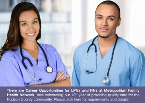 job openings available at Metropolitan Family Health Network for LPNs and RNs